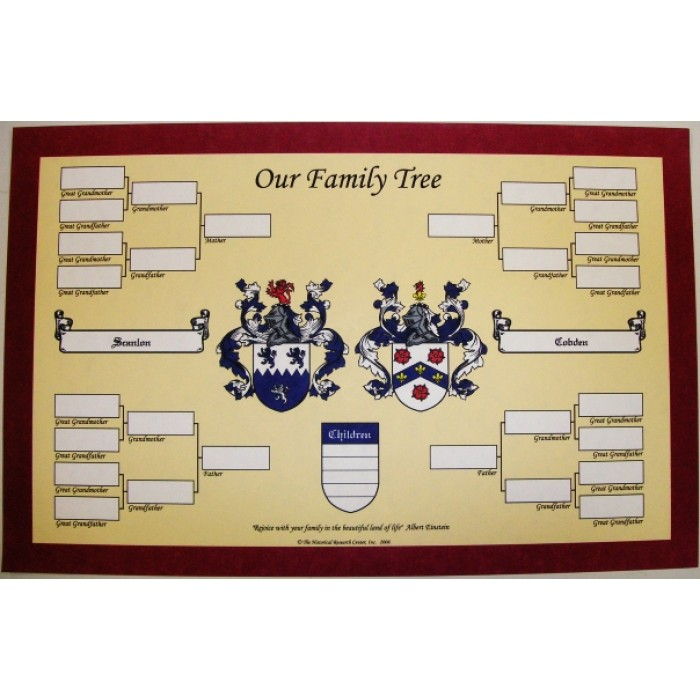 Family Tree With Double Coat Of Arms 11 Quot X 17 Quot