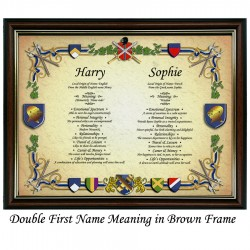 Double First Name Meaning with Heraldry background