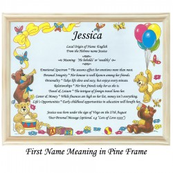 First Name Meaning with Bears and Balloons background (Blue)