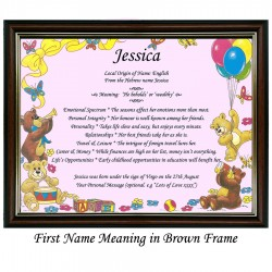 First Name Meaning with Bears and Balloons background (Pink)