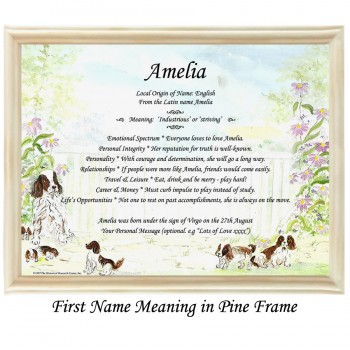 First Name Meaning with dogs background