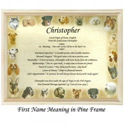 First Name Meaning with Dogs Border background