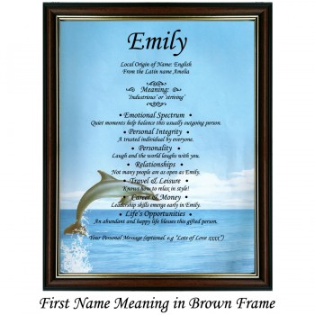 First Name Meaning with Dolphin background (portrait)
