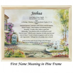 First Name Meaning with Gate and Fountain background