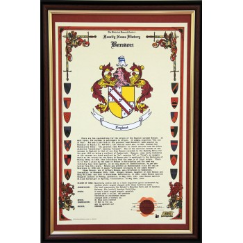 Surname History & Coat of Arms scroll