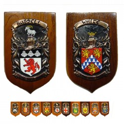 "Coat of Arms & Crest Standard Shield mounted on hardwood 8"" x 6"""