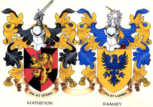 Scanned Close Up of our Hand Painted Double Coat of Arms