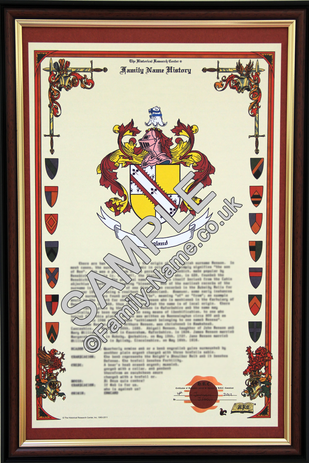 Rendle History and Coat of Arms scroll